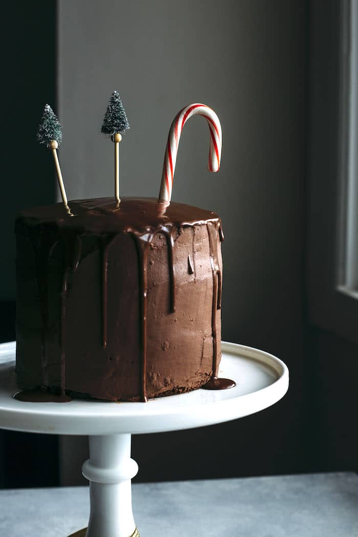 Vegan Chocolate Peppermint Cake | A delicious chocolate peppermint cake iced in a dairy free chocolate ganache, aka the perfect holiday dessert! | thealmondeater.com