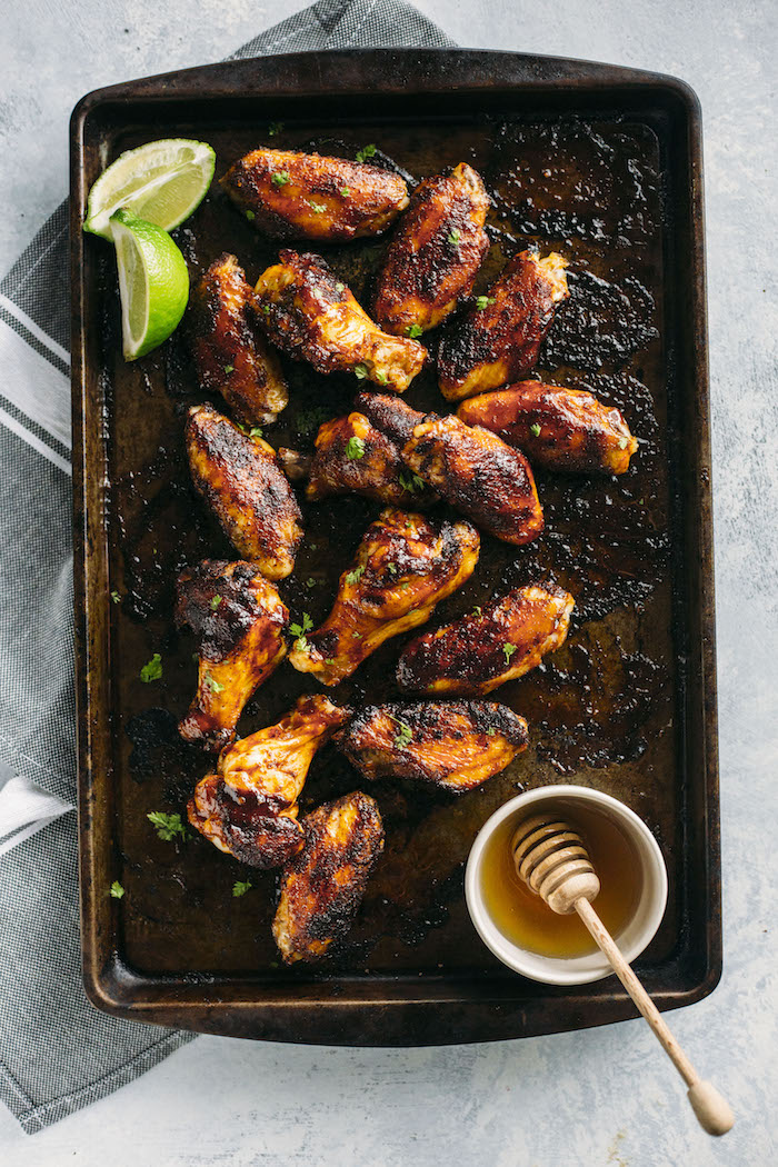 Barbecue Chipotle Wings with a chipotle rub+bbq sauce, ready in about 45 minutes total!