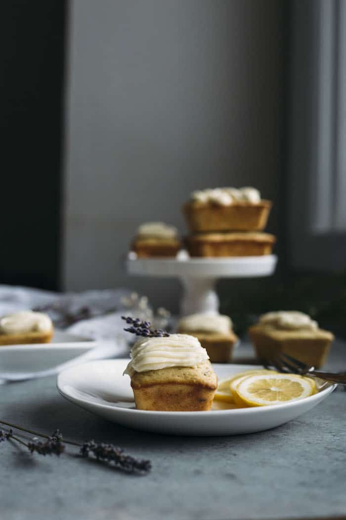 Mini Loaf Cakes made with olive oil, lemon and lavender and topped with a ricotta mascarpone icing!