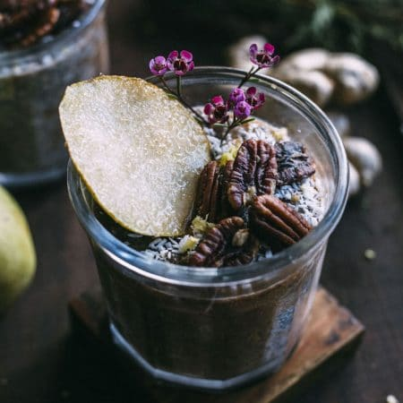 Pear Ginger Chia Pudding | Simple chia pudding made with fresh ginger and blended pears+cinnamon | thealmondeater.com