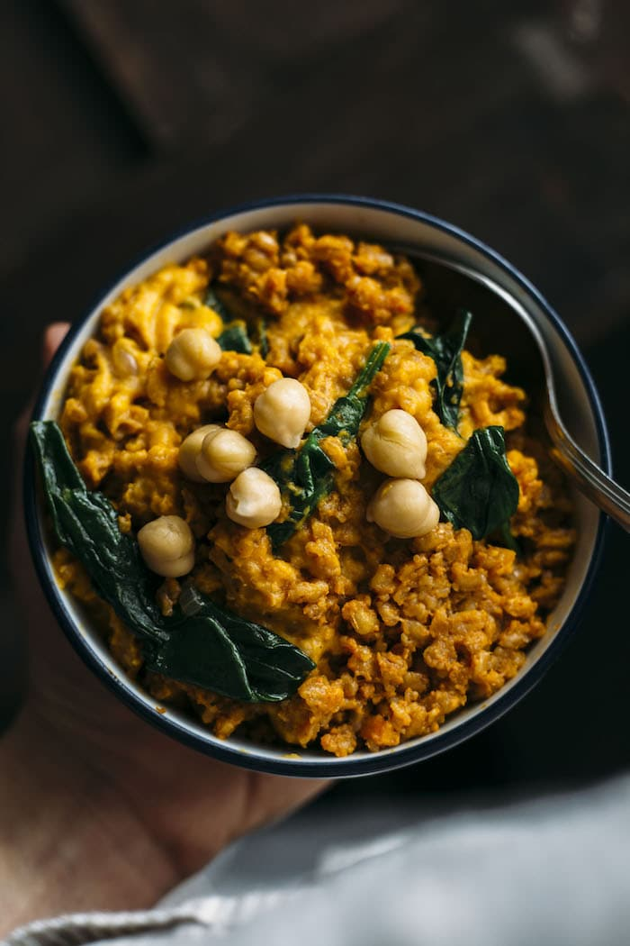 Curry Farro combines with mashed sweet potatoes for one tasty side dish!
