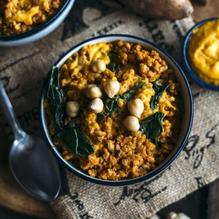 Curry Farro combined with mashed sweet potatoes for a tasty side dish