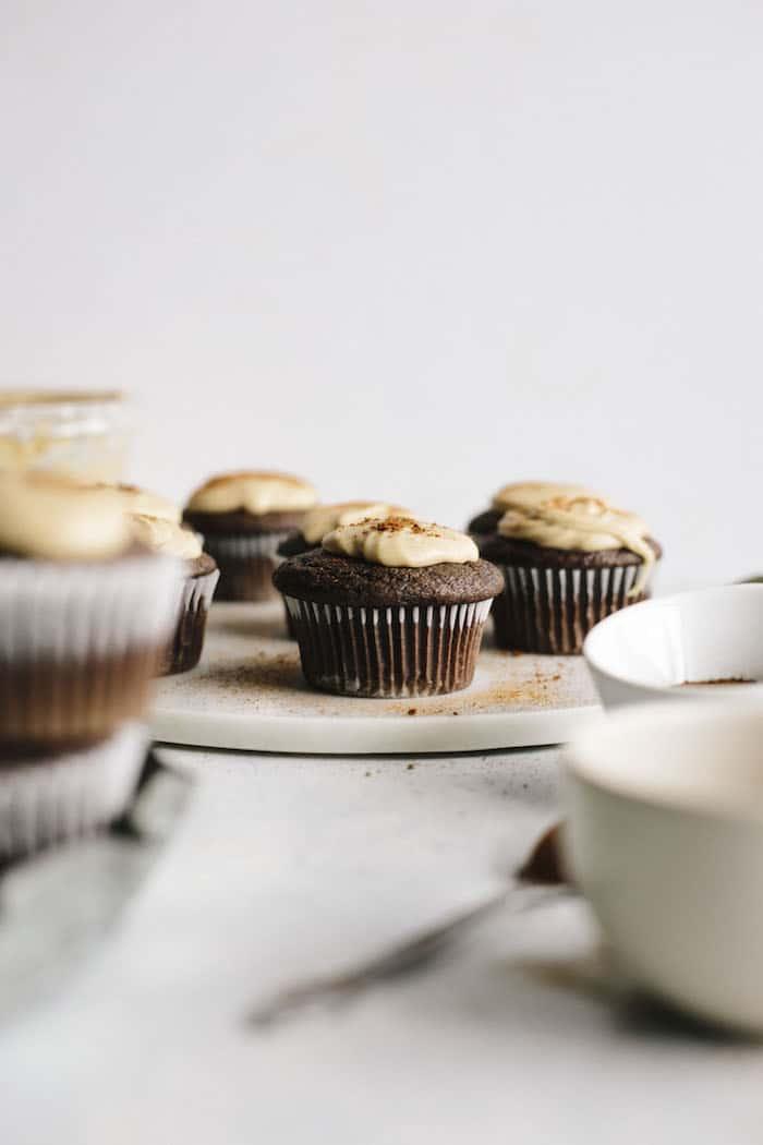 Vegan Espresso Cupcakes topped with a cinnamon tahini icing   thealmondeater.com   #vegan