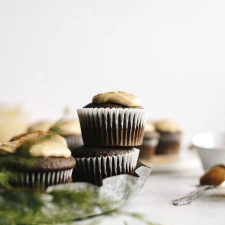 Vegan Espresso Cupcakes topped with a cinnamon tahini icing that you MUST try! | thealmondeater.com