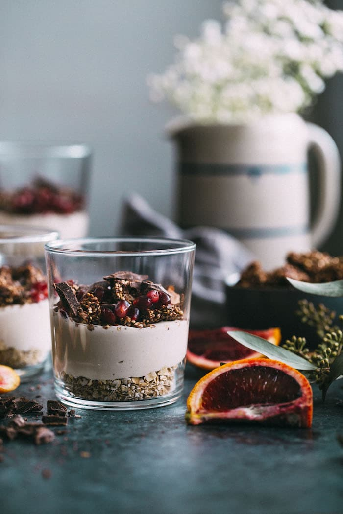 A Blood Orange Parfait made with cashew cream and CHOCOLATE quinoa brittle! #vegan