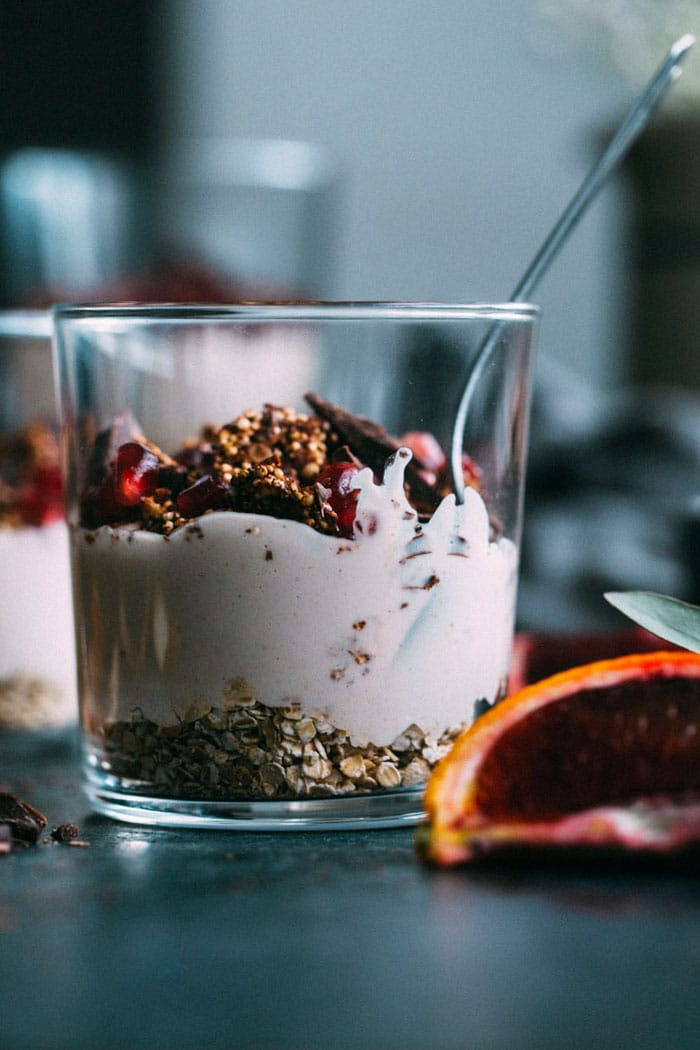 Blood Orange Parfaits made with cashew cream and CHOCOLATE quinoa brittle! #vegan