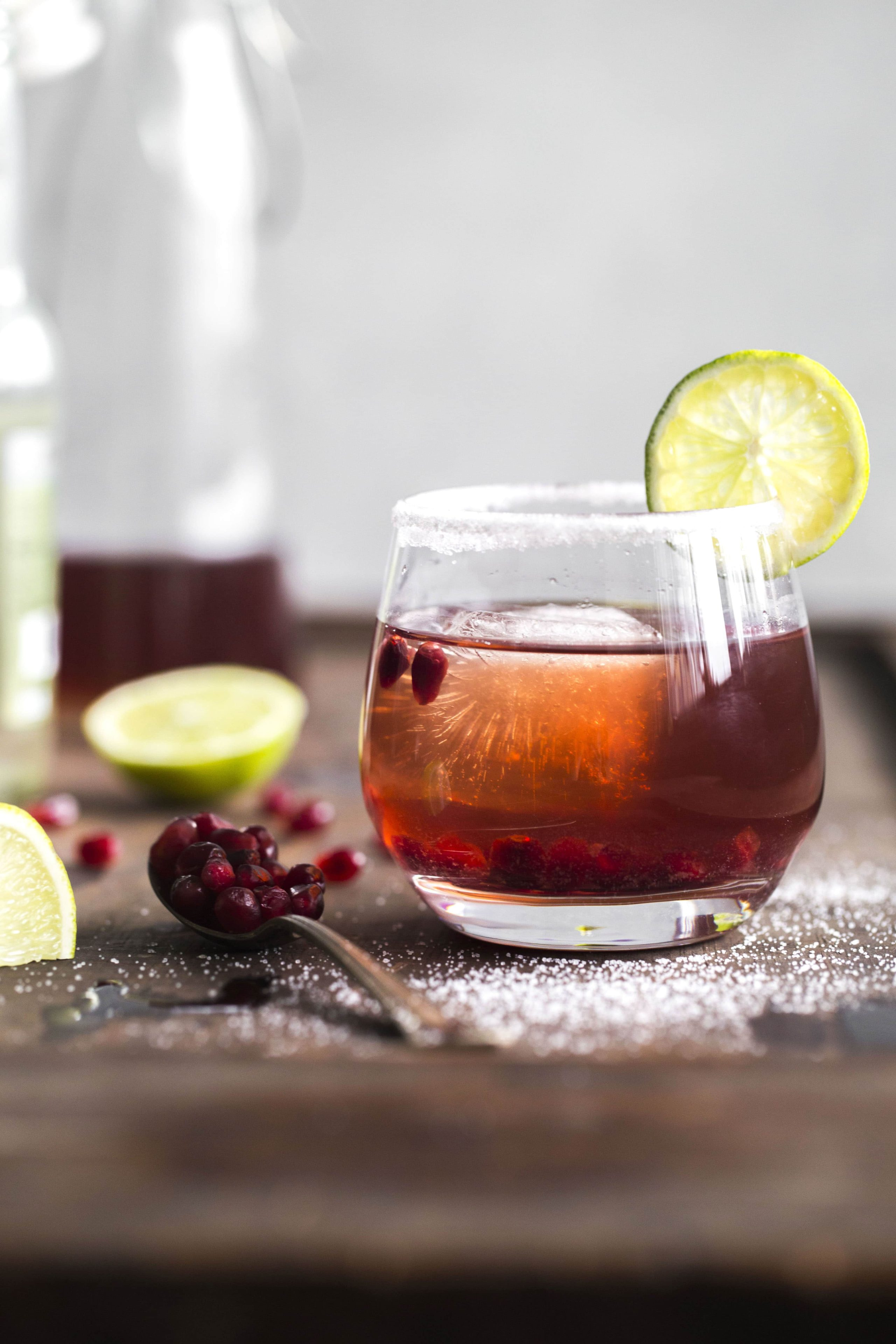 Ginger pomegranate punch made with pomegranate juice, ginger beer, vodka AND wine--it's SO good!