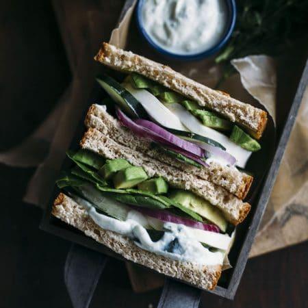 A Greek Goddess Sandwich filled with veggies+homemade tzatziki sauce!