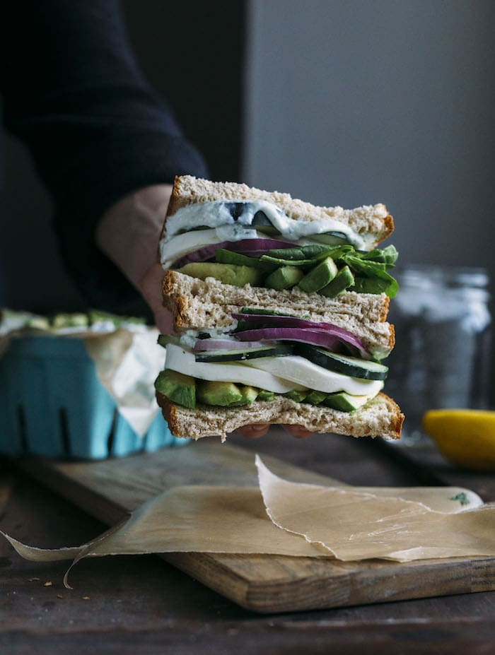 A Greek Goddess Sandwich filled with raw veggies+homemade tzatziki sauce!