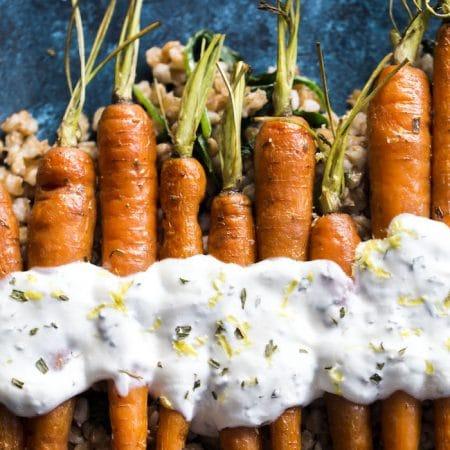 Roasted Carrots with Lemon Yogurt Sauce and Farro 4