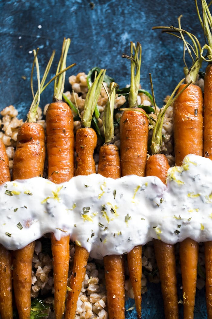 Roasted Carrots with Lemon Yogurt Sauce and Farro 4