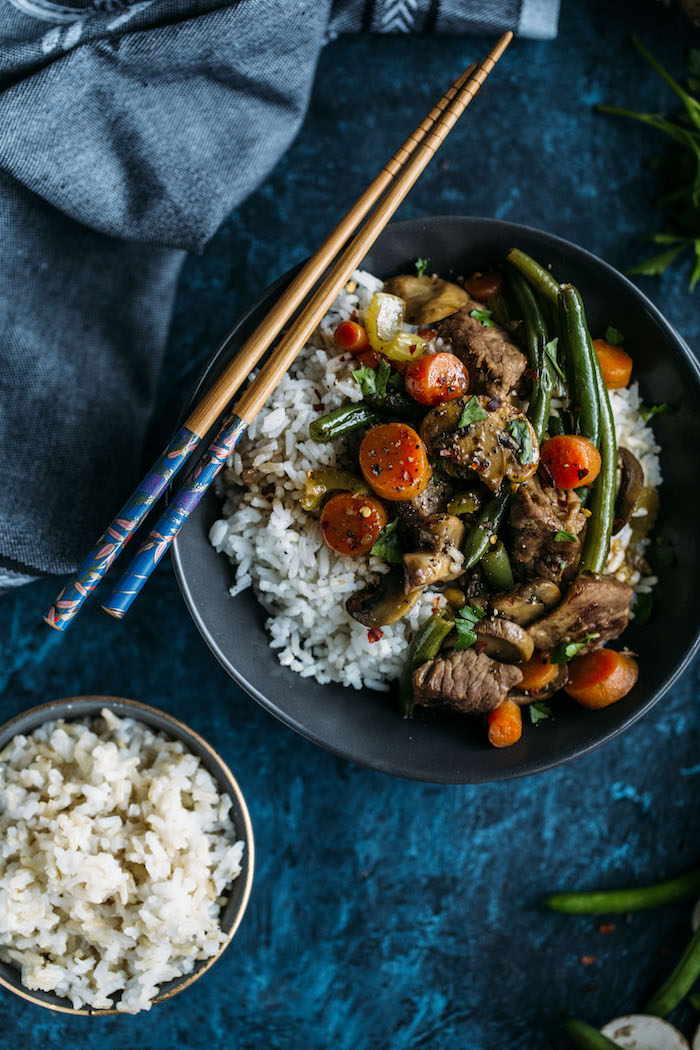 Beef Stir Fry made with rice, vegetables, soy sauce, and broth--ready in close to 30 minutes!