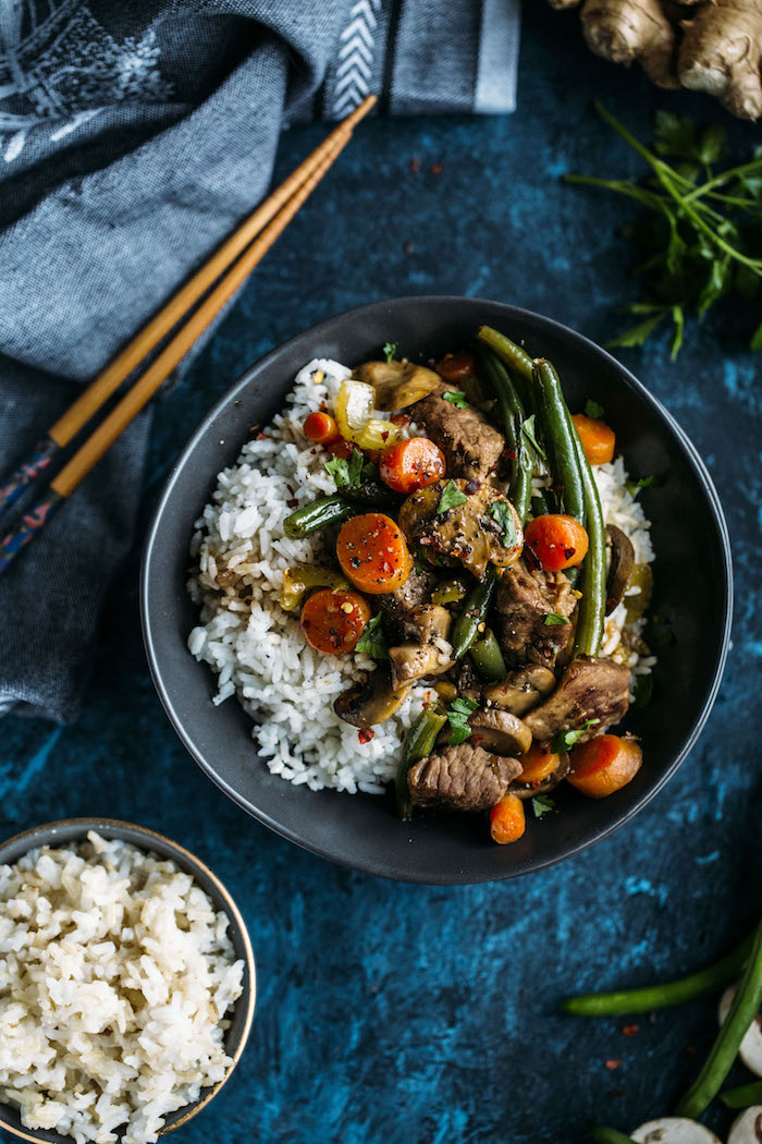 Beef Stir Fry made with beef, vegetables, rice, and soy sauce, aka a well balanced meal!