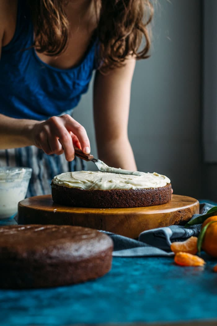 Chocolate Cake with Tequila Orange Icing | thealmondeater.com