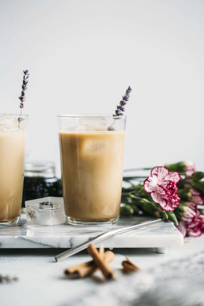 A LAVENDER dirty chai latte that's full of flavor and ready in just 5 minutes!