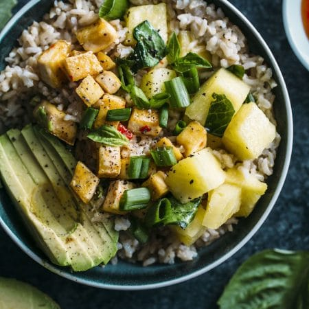 Pineapple Tofu Coconut Rice Bowl | #vegan