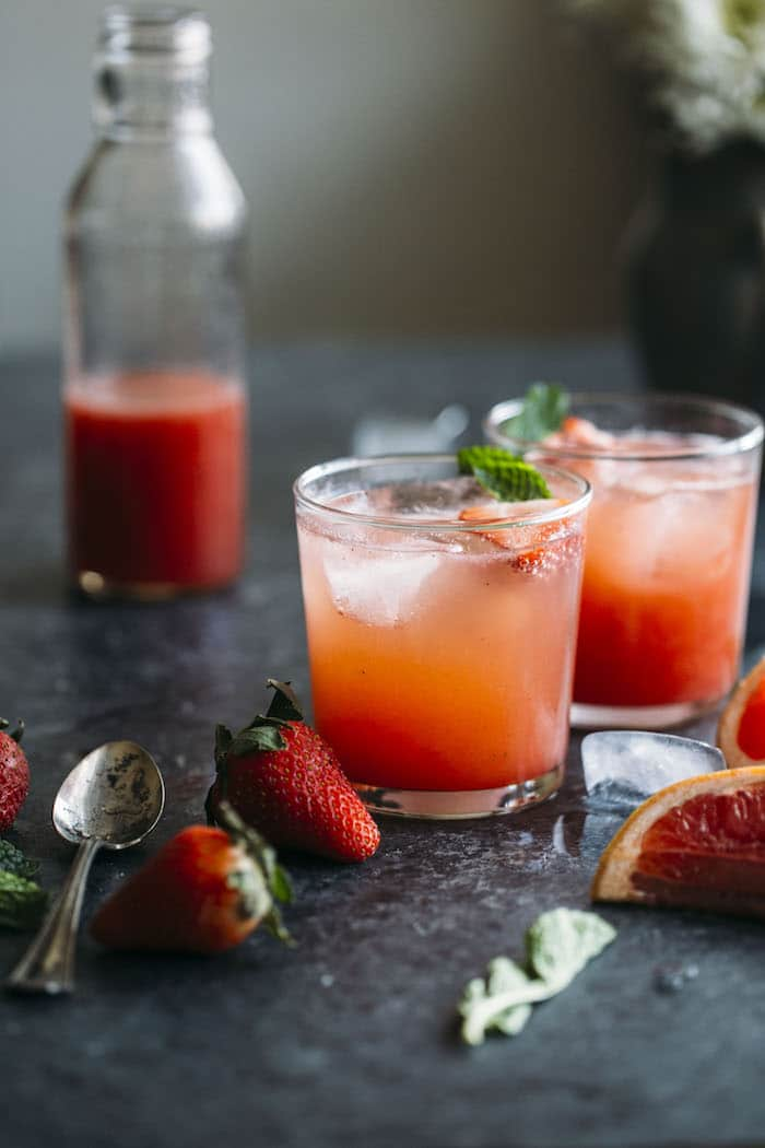 This Strawberry Grapefruit Shrub is a fruity, refreshing nonalcoholic drink that you will love!