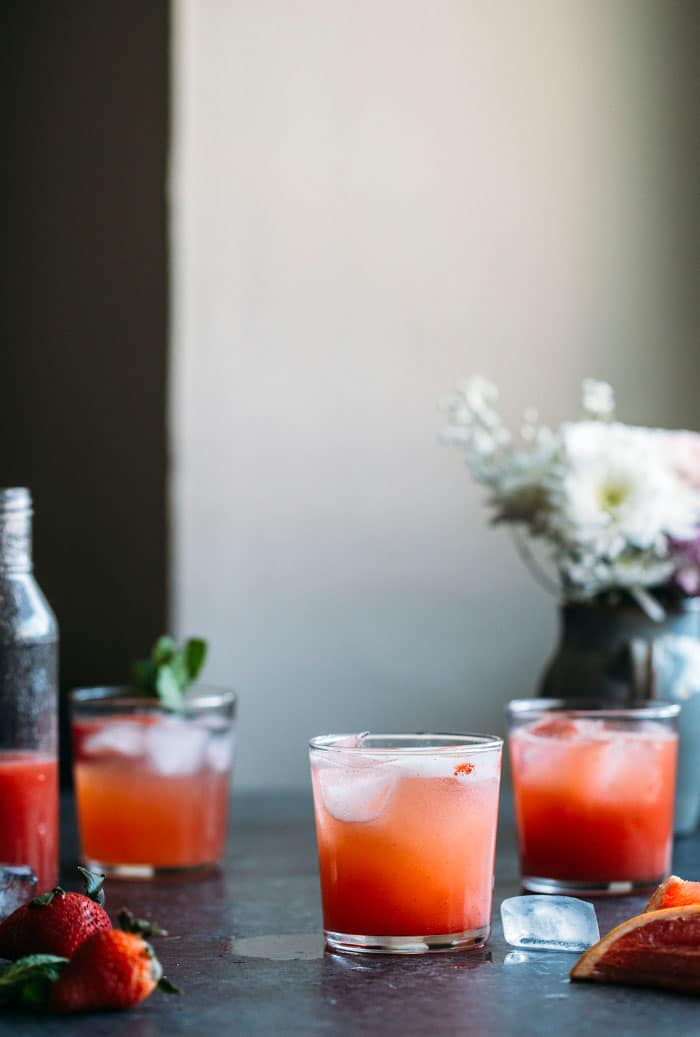 This Strawberry Grapefruit Shrub is a fruity, refreshing and nonalcoholic drink--you will LOVE it