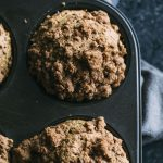 Whole wheat zucchini muffins made lighter and dairy free | thealmondeater.com