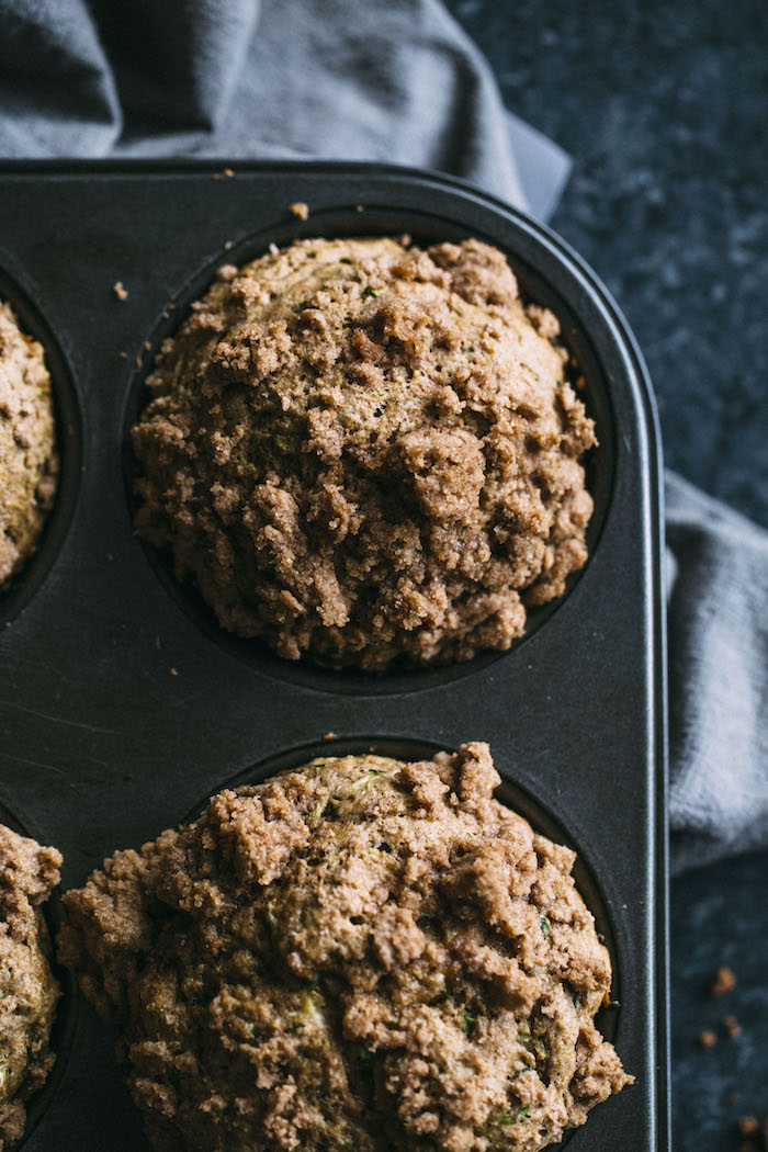 Whole wheat zucchini muffins made lighter and dairy free   thealmondeater.com