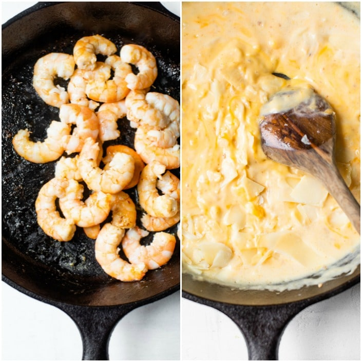 shrimp and cheese sauce in a skillet