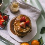 Tahini Pancakes made with healthy ingredients and topped with cinnamon, tahini AND maple syrup!