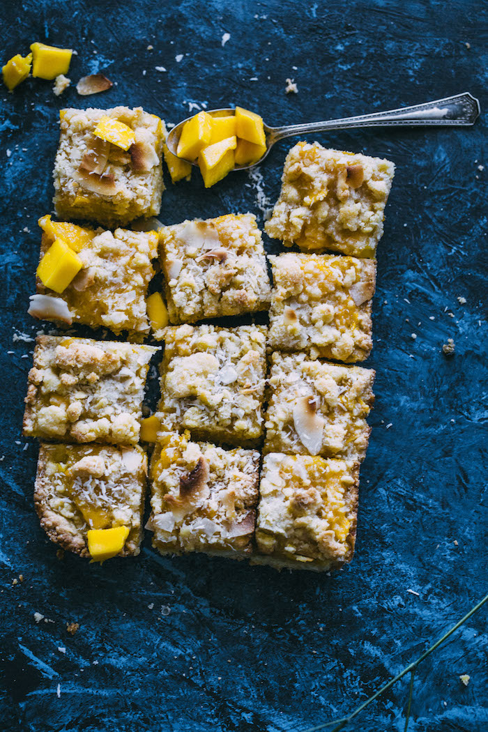 These MANGO Crumb Bars are perfectly buttery and lightly sweet--mixed with coconut for an awesome flavor combo!