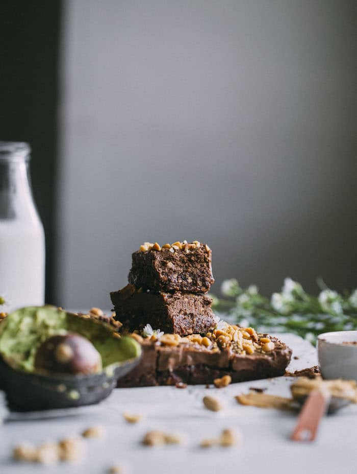 raw vegan AVOCADO brownies made with chocolate and peanut butter!