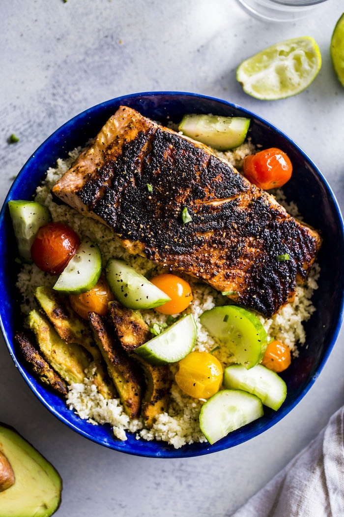 "Whole30 salmon bowl made with cauliflower rice and ""breaded"" avocado!"