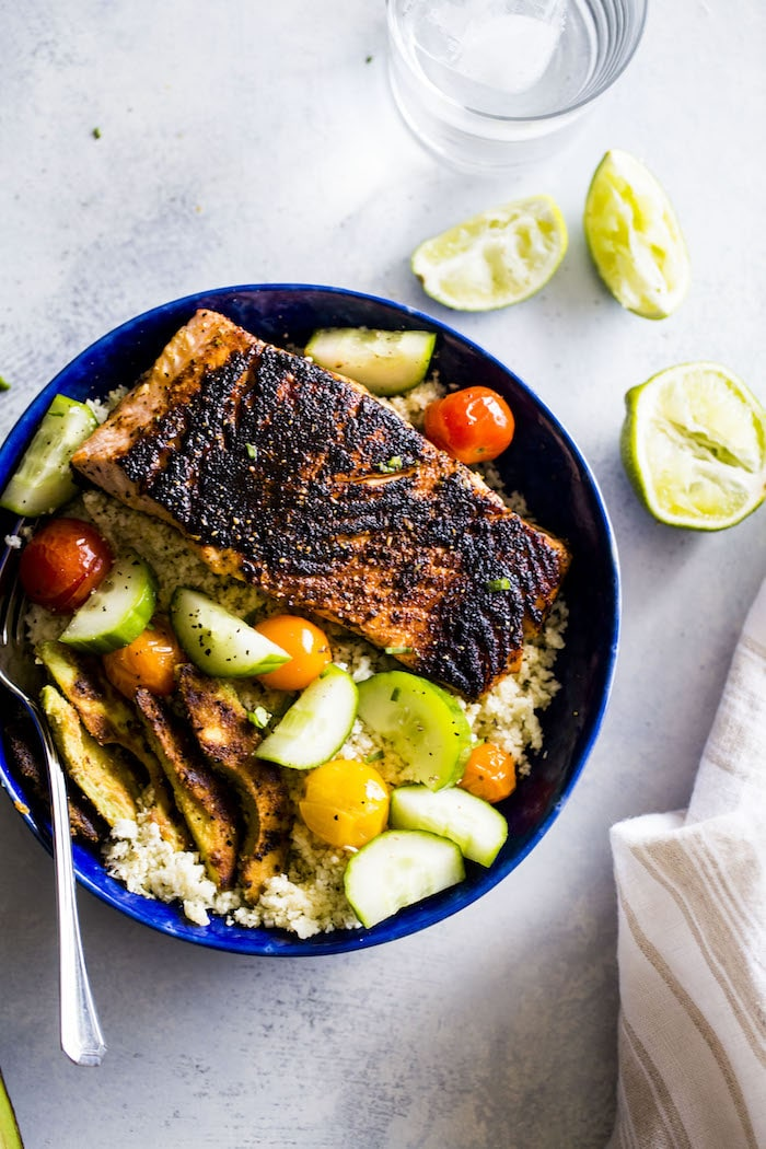 "Whole30 salmon bowl made with cauliflower rice, blackened salmon and ""breaded"" avocado!"