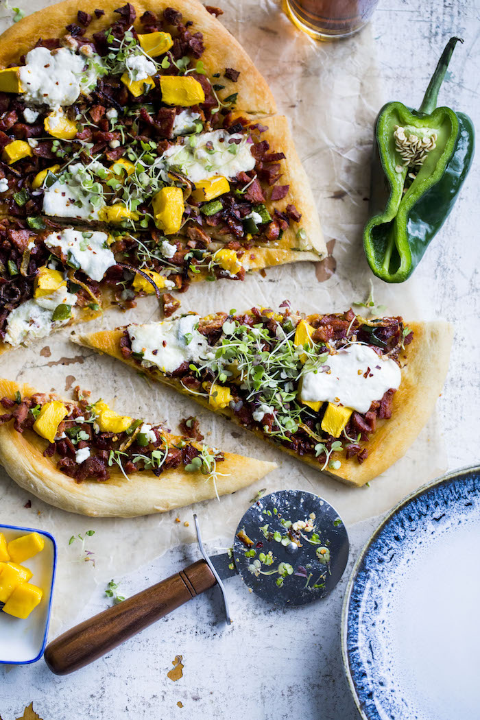 Chorizo Mango Pizza | thealmondeater.com