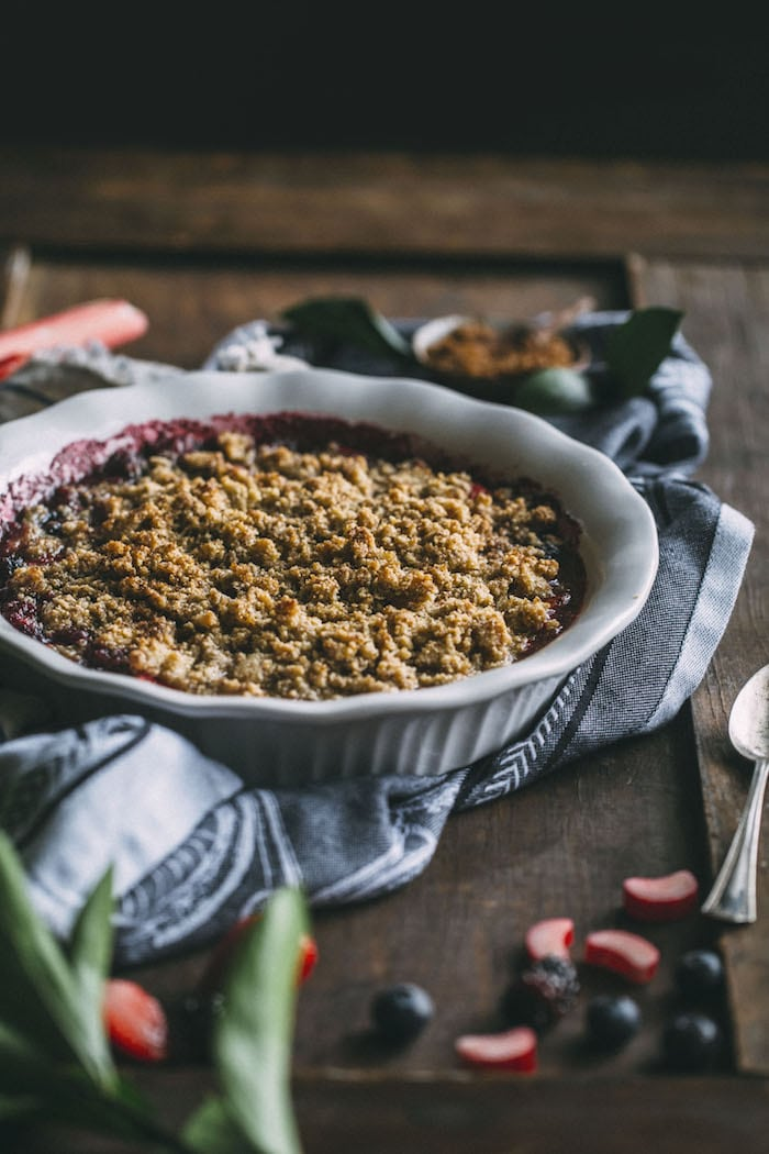 GLUTEN FREE Berry Rhubarb Crisp made with fresh rhubarb and berries and topped with an almond flour crumble