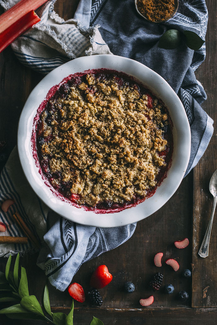 GLUTEN FREE Rhubarb Crisp made with fresh rhubarb, berries and an almond flour topping