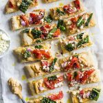 Red Pepper Hummus Flatbread--a vegetarian bite-size snack!