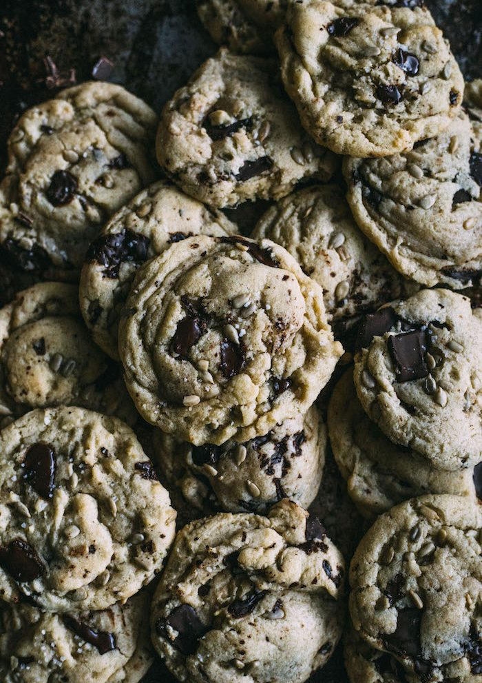 Seedy Chocolate Chip Cookies made with dark chocolate, sunflower seeds--perfectly chewy, salty and sweet!