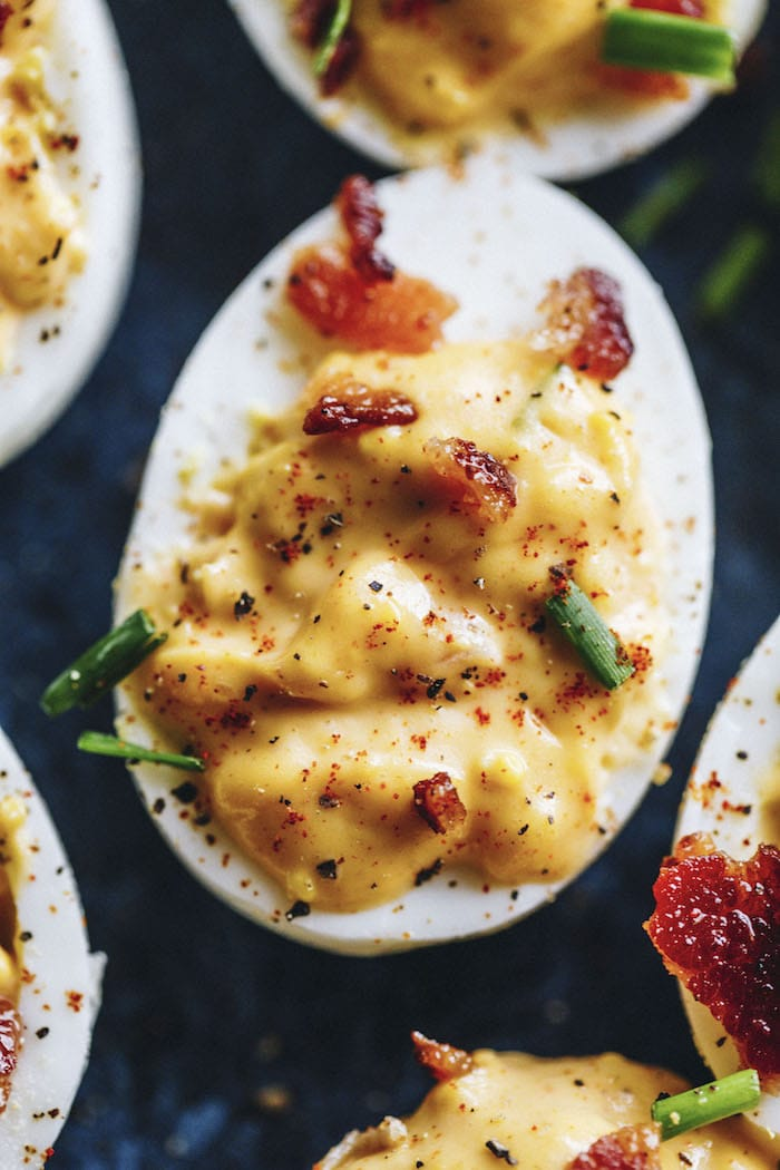 Chipotle deviled eggs filled with chipotle yogurt instead of mayonnaise and mustard!