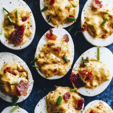Chipotle deviled eggs filled with chipotle yogurt instead of mustard!