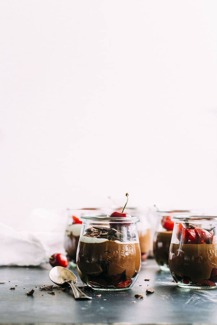 vegan espresso mousse made with coconut milk, espresso powder and fresh cherries | thealmondeater.com