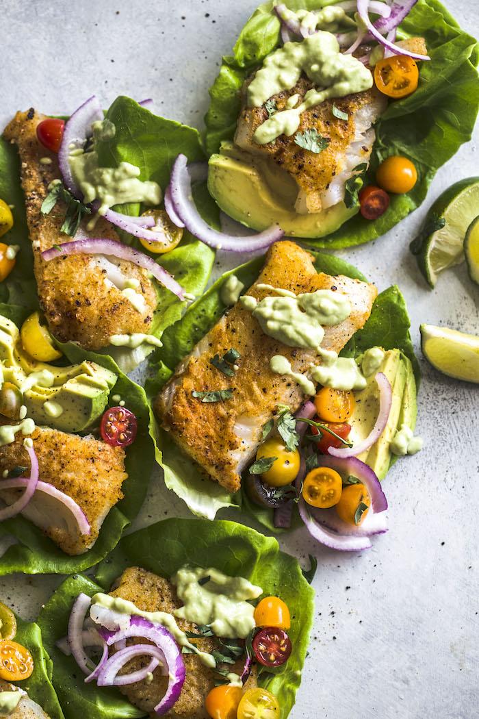 Paleo Cod Lettuce Wraps | thealmondeater.com