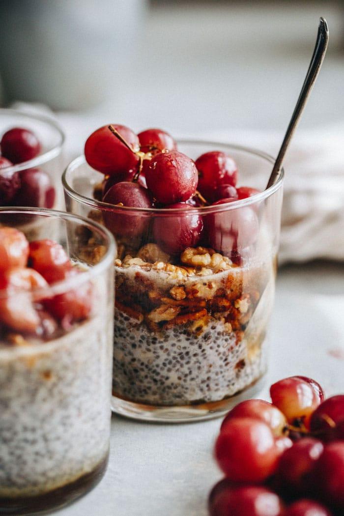 Roasted Grape Chia Pudding   thealmondeater.com