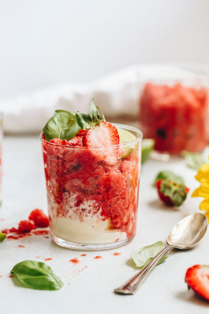 Strawberry Basil Granita | The Almond Eater