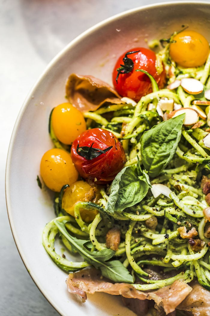 Arugula Pesto Zucchini Noodle Bowl | #whole30