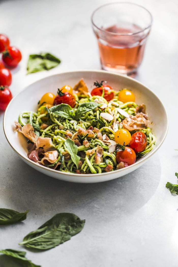 Arugula Pesto Zucchini Noodle Bowl #whole30