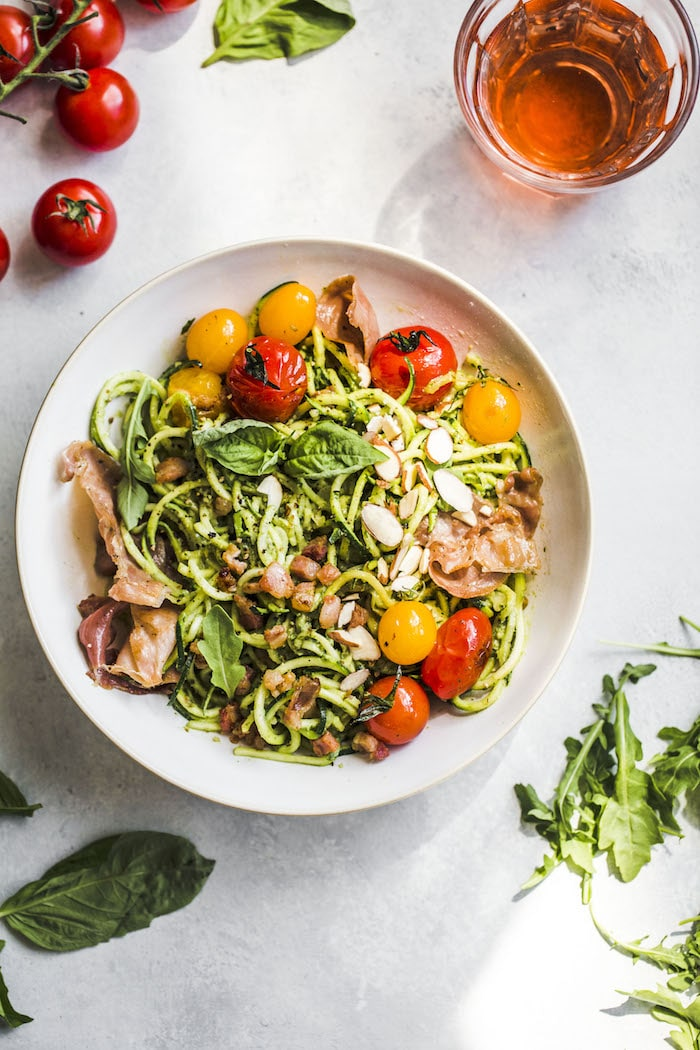 Arugula Pesto Zucchini Noodle Bowl #whole30