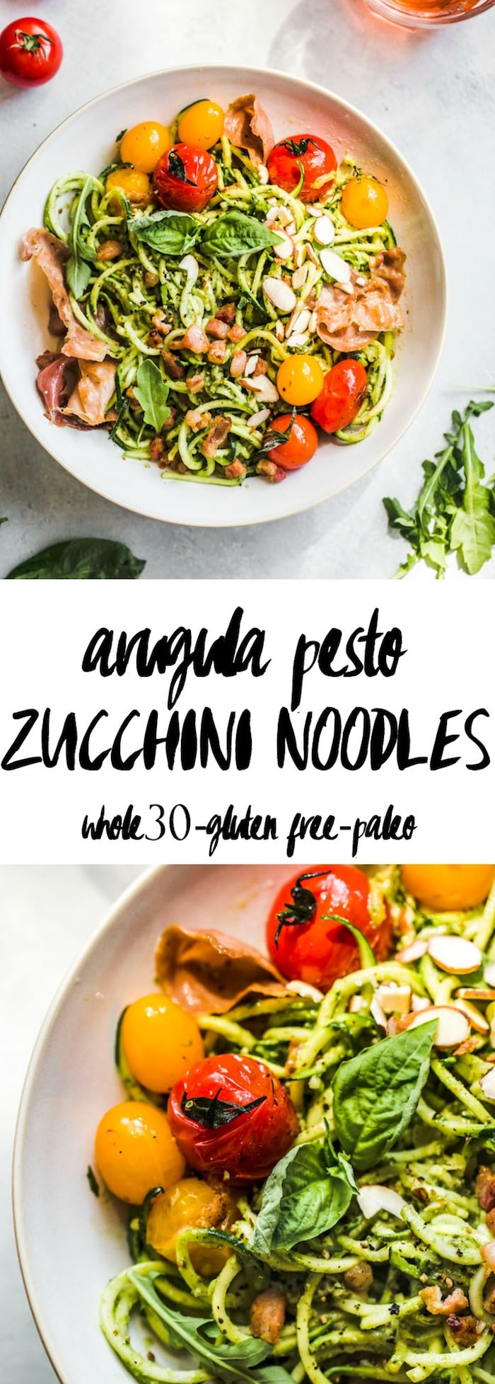 Arugula Pesto Zucchini Noodle Bowl with tomatoes and prosciutto--whole30, too!