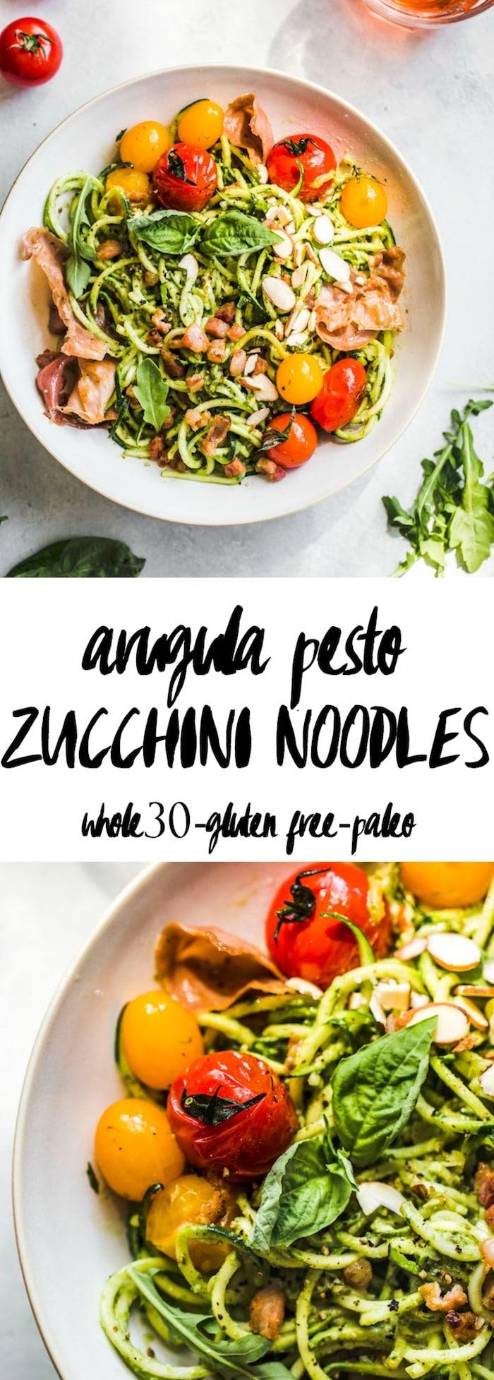 Arugula Pesto Zucchini Noodle Bowl with tomatoes and prosciutto--whole30, too!