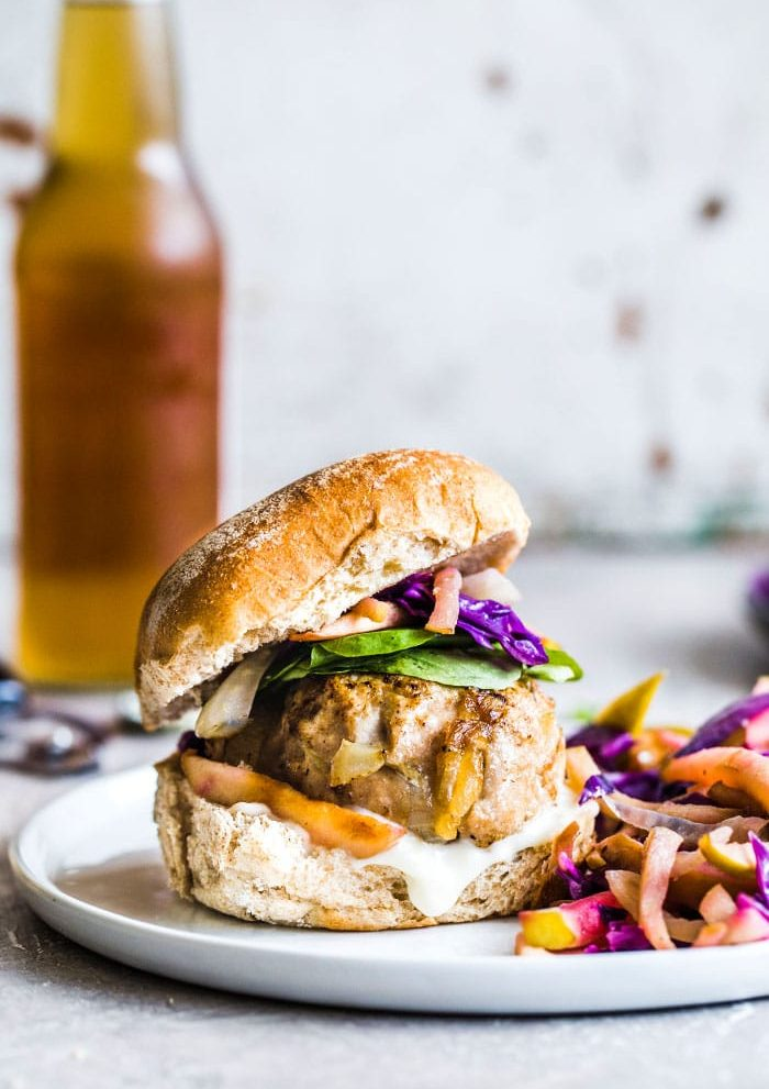 Caramelized Onion Turkey Burgers | thealmondeater.com