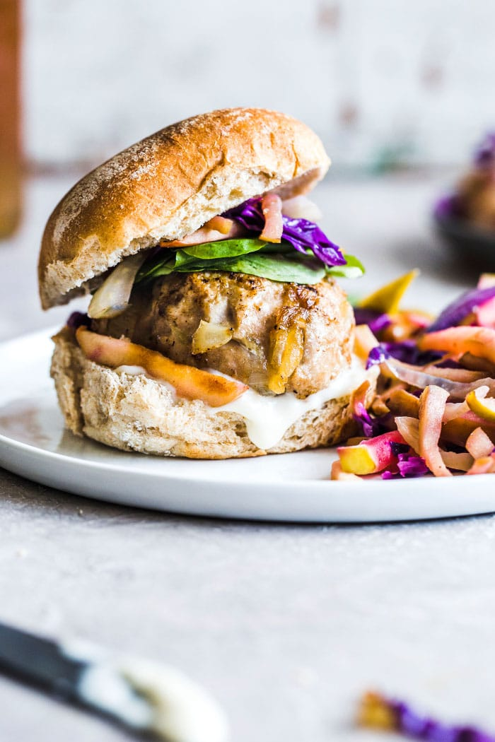Caramelized Onion Turkey Burgers with apple slaw   thealmondeater.com