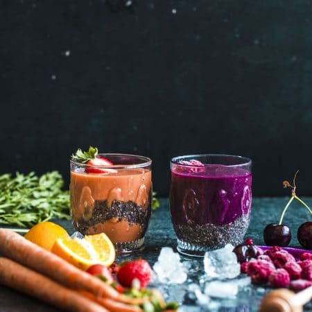Fruity Chia Seed Smoothies | thealmondeater.com