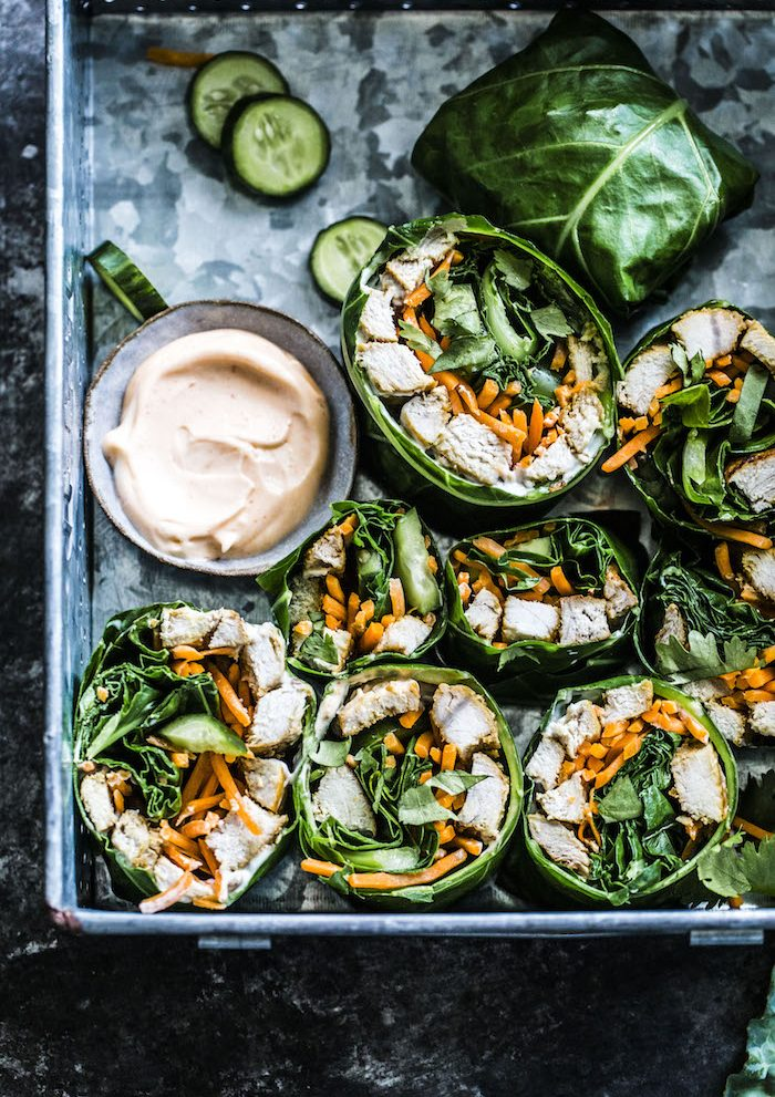 Bahn Mi Collard Wraps-- paleo, dairy free, gluten free and SO TASTY! | thealmondeater.com